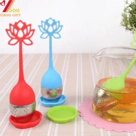 Taza de infusor de té Infusor de té de silicona Manija Filtro de filtro de acero inoxidable Infuser