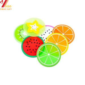 No-slip Cup Mats Silicone Coaster Coffee Tea Mat Pad Fruit Shape Creative Drink Holder Table Placemat