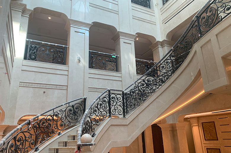 Qatar Office Building curved mable stairs