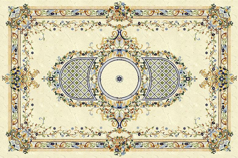 square waterjet medallion floor design