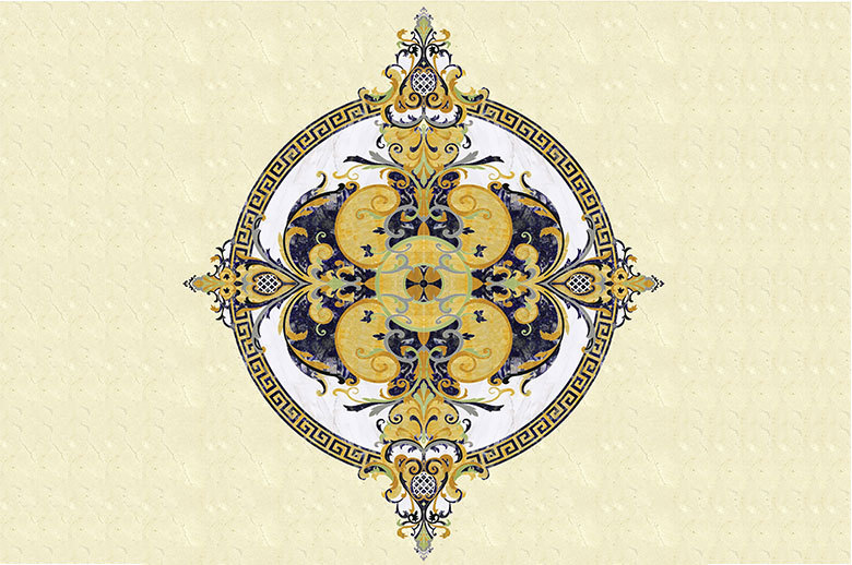 Round shape marble floor waterjet medallion design