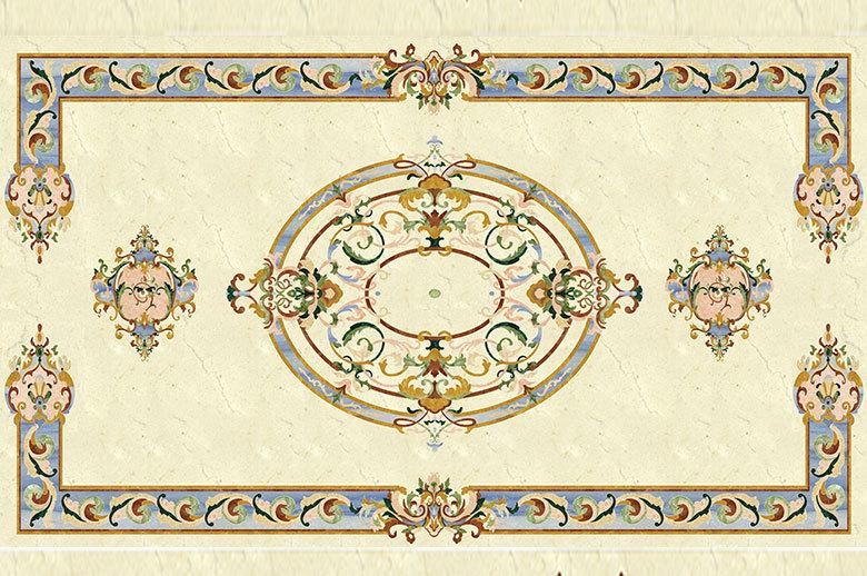 square shape waterjet medallion marble flooring