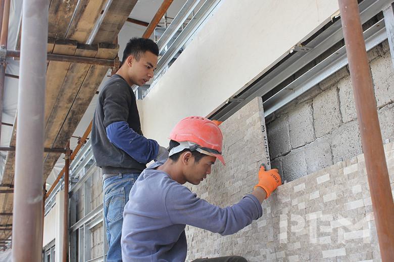 Tajikistan Private Villa exterior wall cladding installation