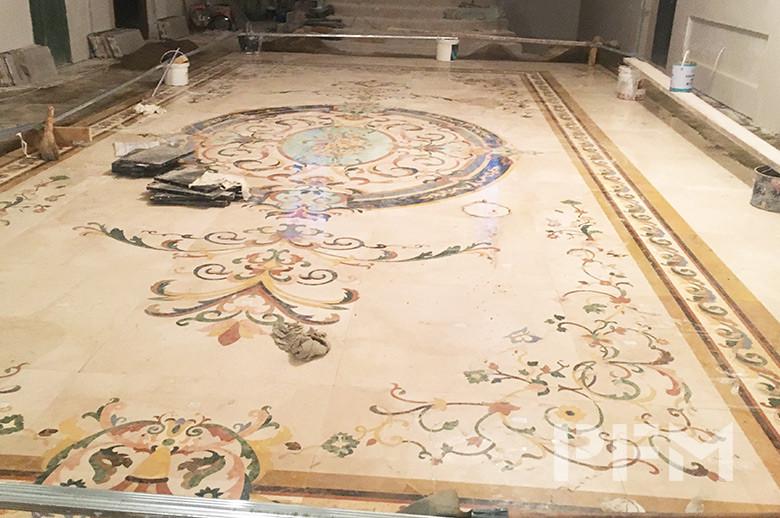 marble waterjet medallion floor pattern design