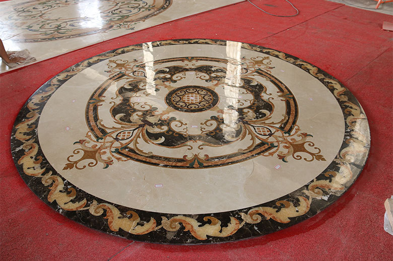 round marble waterjet medallion floor