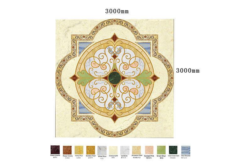 square marble waterjet medallion floor design