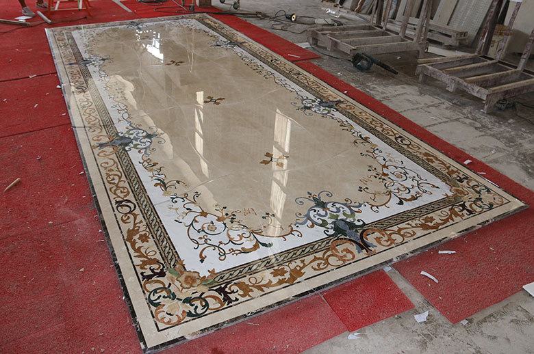 rectangle marble waterjet medallion floor