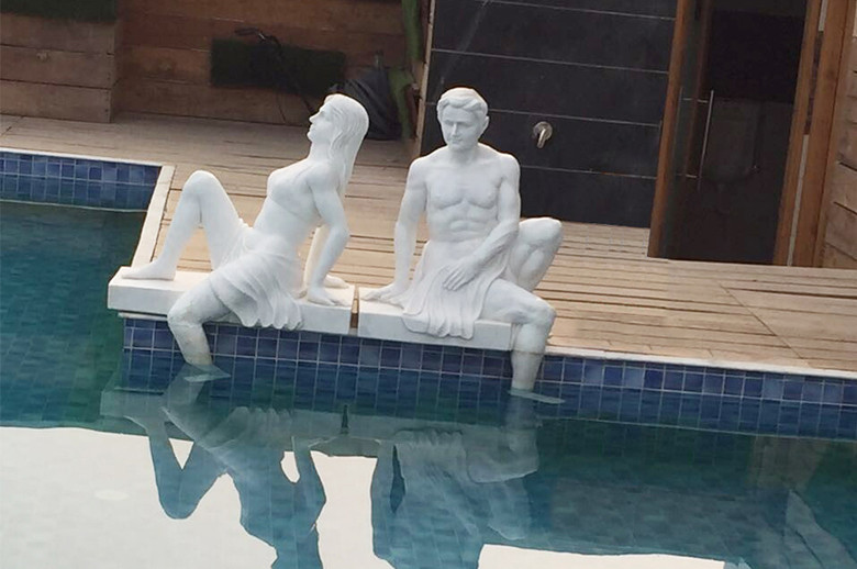 Jaipur Five Star Hotel hand carving marble figure statue