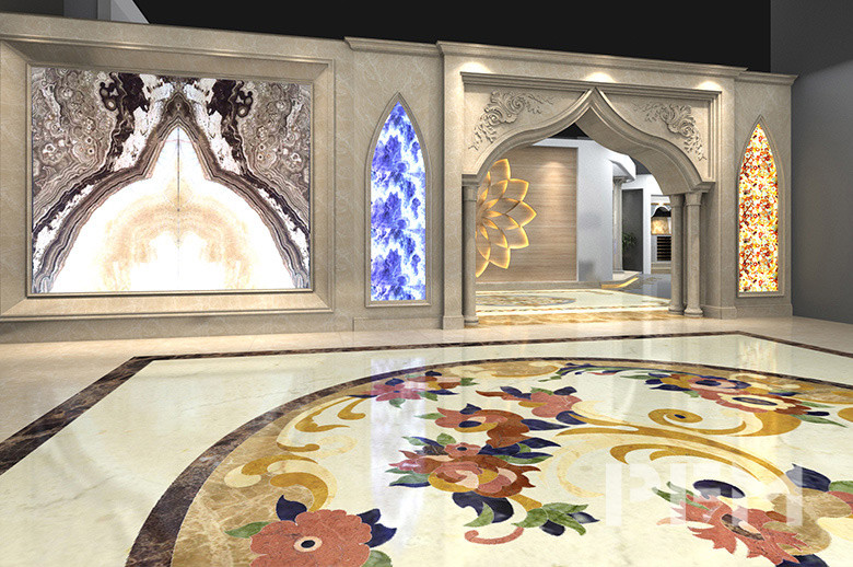 Riyadh Showroom marble waterjet medallion floor Entry Foyer Design