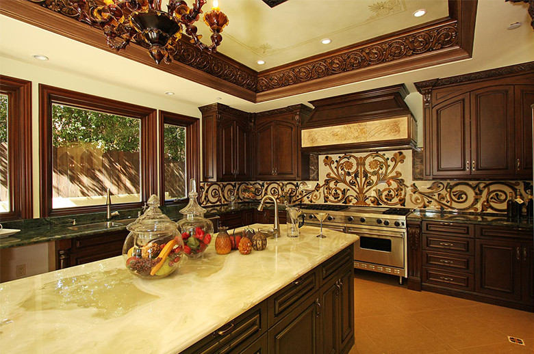 kitchen marble waterjet medallion backsplash