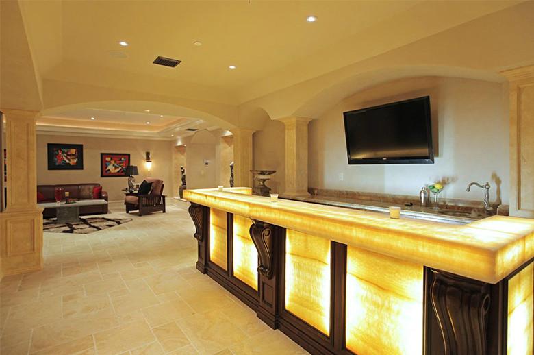 basement hony onyx bar countertop