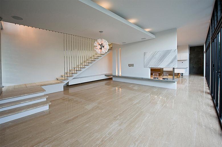 beige travertine flooring