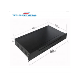 1U 19 inch Aluminium black vented enclosure chassis with Aluminium front panel