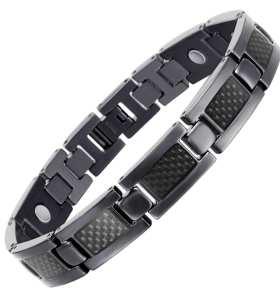 BLATI Fashion Mens Carbon Fiber Titanium Magnetic Bracelet
