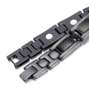 BLATI Fashion Mens Carbon Fiber Titanium Magnetic Bracelet