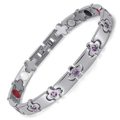 Orachid Custom Silver Color Titanium Silcone  Healthcare Magnet Bracelet