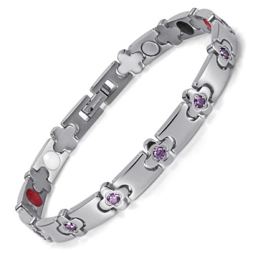 Orachid Custom Silver Color Titanium Silcone  Healthcare Magnet Bracelet