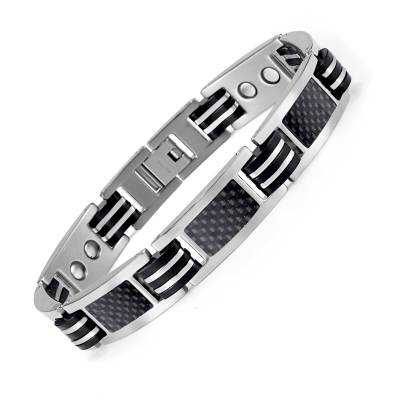 Streamline fashion black titanium bio power magnetic bracelet