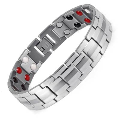 Bardiglio Business Mens Gray Strip Therapy Titanium Magnetic Bracelet