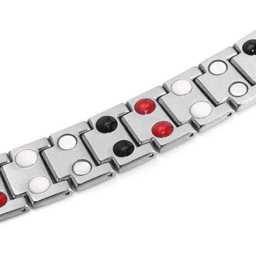Bardiglio Business Mens Gray Strip Therapy Titanium Magnetic Bracelet