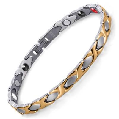 Ladylike Chic Elegant Fashion Silver and Gold plated titanium magnetic womens bracelet