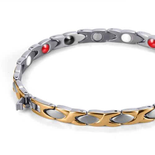 Ladylike Chic Elegant Fashion Silver and Gold plated titanium magnetic womens bracelet