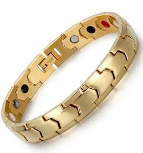 gold scintillate stainless steel magnetic bracelet