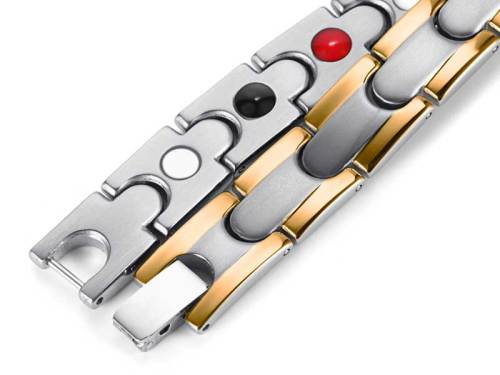 Apricity stainless steel silver and gold  plated magnetic bracelet