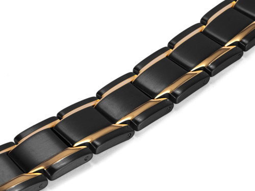 Serendipity stainless steel black and gold color magnetic bracelet