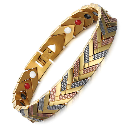 Androsphinx Three color tone stainless steel magnetic bracelet
