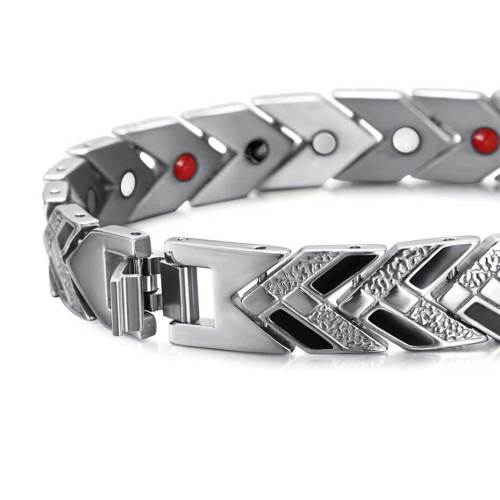 Androsphinx Black and Silver stainless steel magnetic bracele
