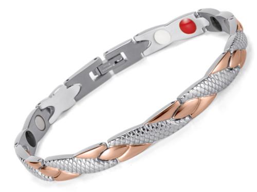 Medusa rose gold snack skin stainless steel magneitc bracelet
