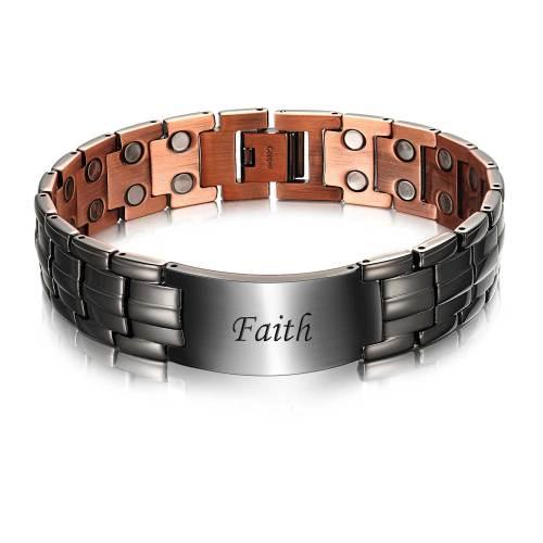 Sempiternal black plated copper id magnetic bracelet