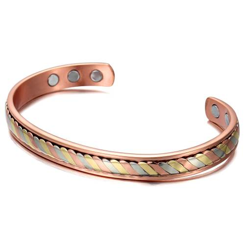 Hieracosphinx Solid copper multi-color magnetic bangle bracelet