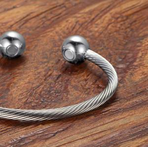 Silver Moppet stainless steel magnetic bangle bracelet