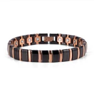 Chatoyant black ceramic  and rose gold magnetic bracelet