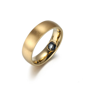 Sillage stainless steel gold plated magnetic healthcare ring
