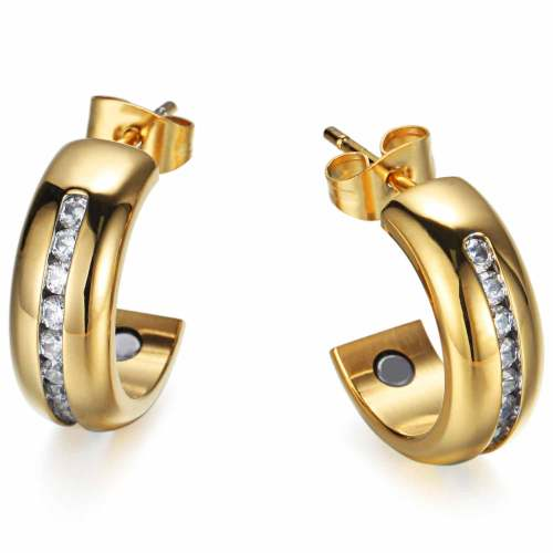 Balter stainless steel gold plated magnetic healthcare earrings