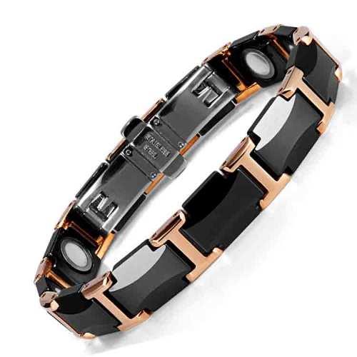 Quintessential black rose gold tungstan ceramic magnetic bracelet