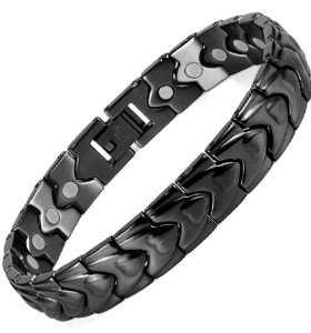 Black WAVE stainless steel magnetic therapy bracelet