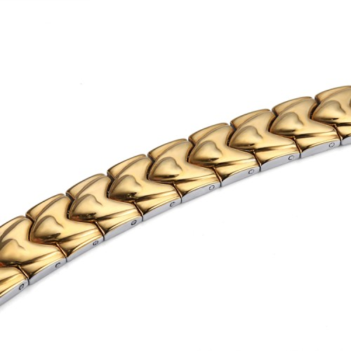 Gold WAVE stainless steel magnetic therapy bracelet