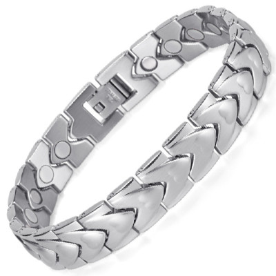 Silver WAVE stainless steel magnetic therapy bracelet