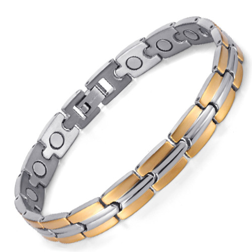 Gold TRACK stainless steel magnetic therapy bracelet
