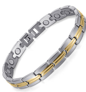 Silver TRACK stainless steel magnetic therapy bracelet