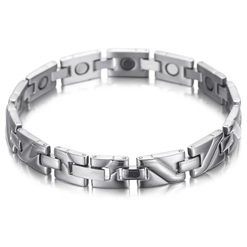 Silver Pulse stainless steel magnetic therapy bracelet