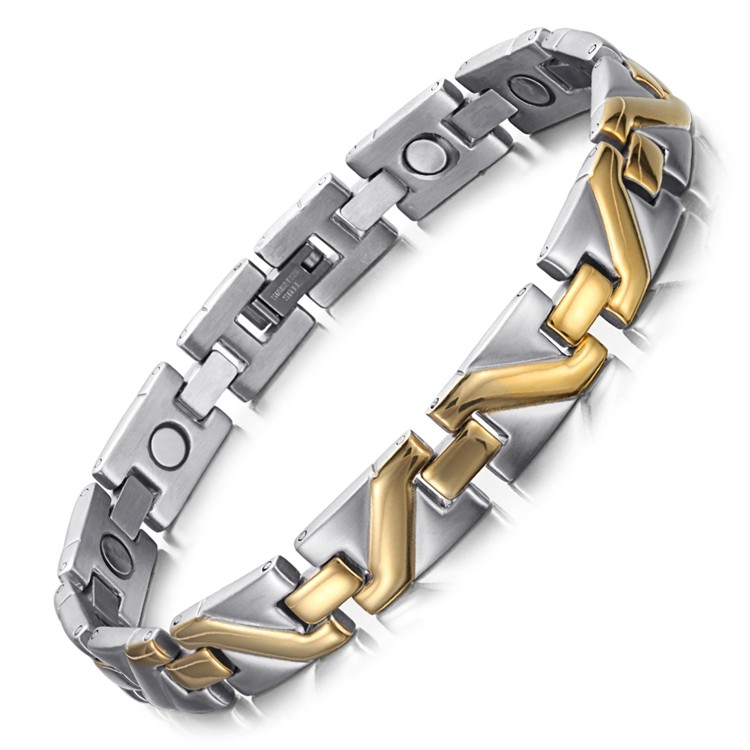Gold Pulse stainless steel magnetic therapy bracelet