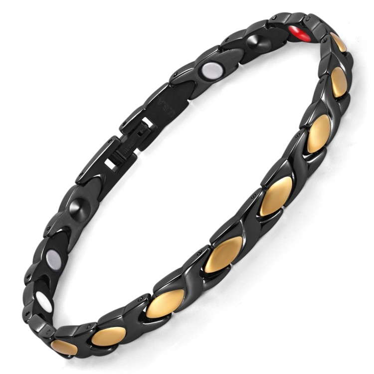 Striped Racer stainless steel magnetic therapy bracelet