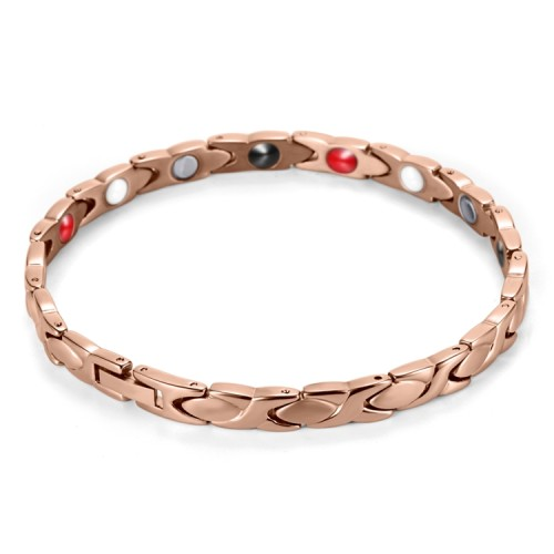 Rose Coachwhip stainless steel magnetic therapy bracelet