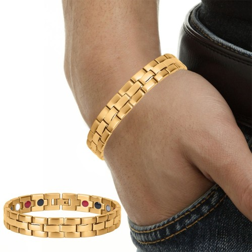 Gold plated stainless steel magnetic therapy bracelet