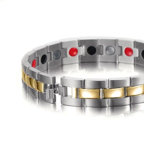 Silver gold tone stainless steel magnetic therapy bracelet